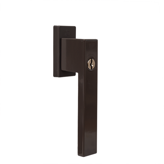 Window handle with a key - DUBLIN (brown RAL8019)
