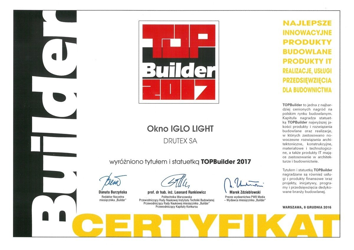 Okno Iglo Light Drutex-u s cenou Top Builder 2017.