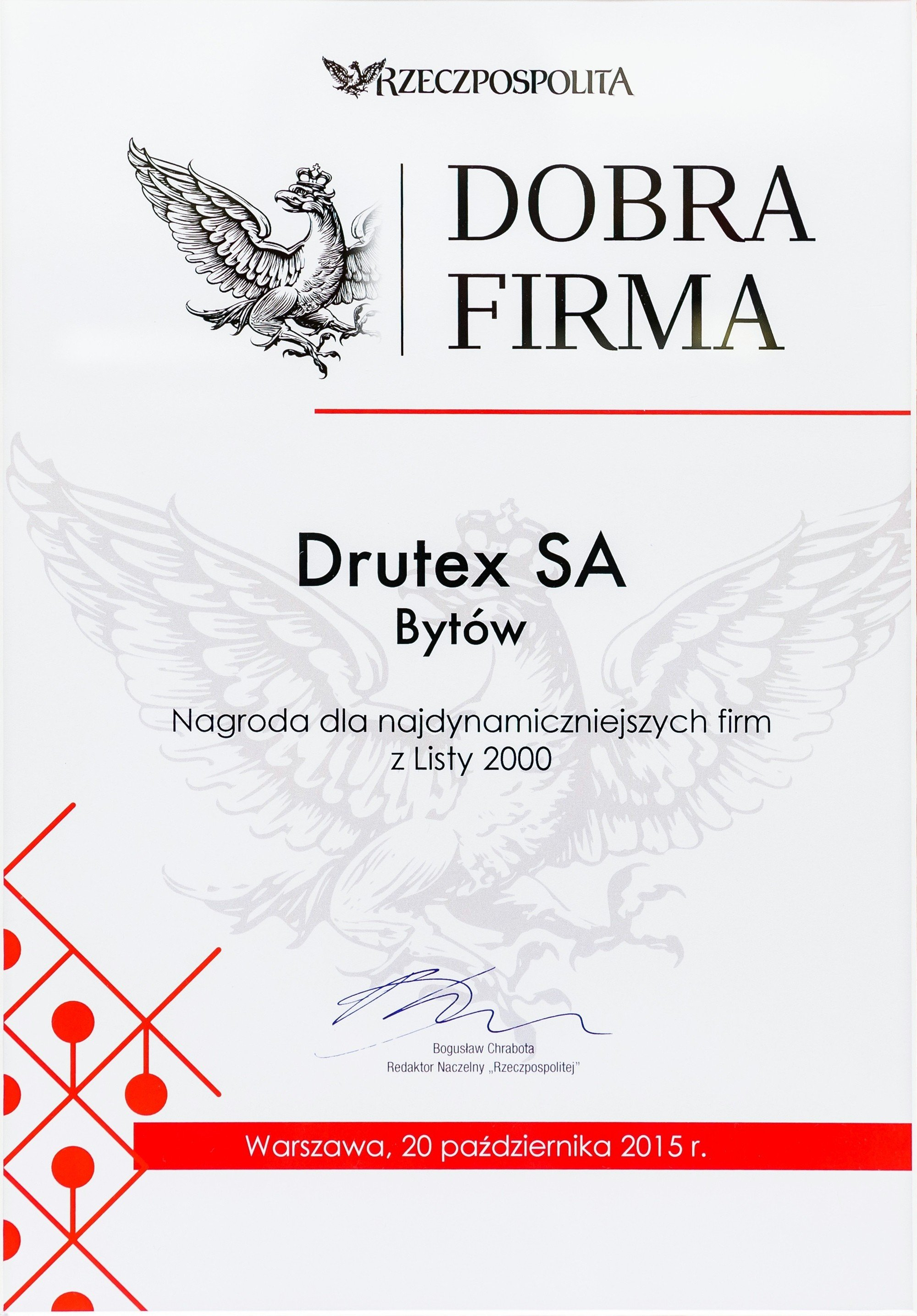 DRUTEX among the 20 best Polish companies.