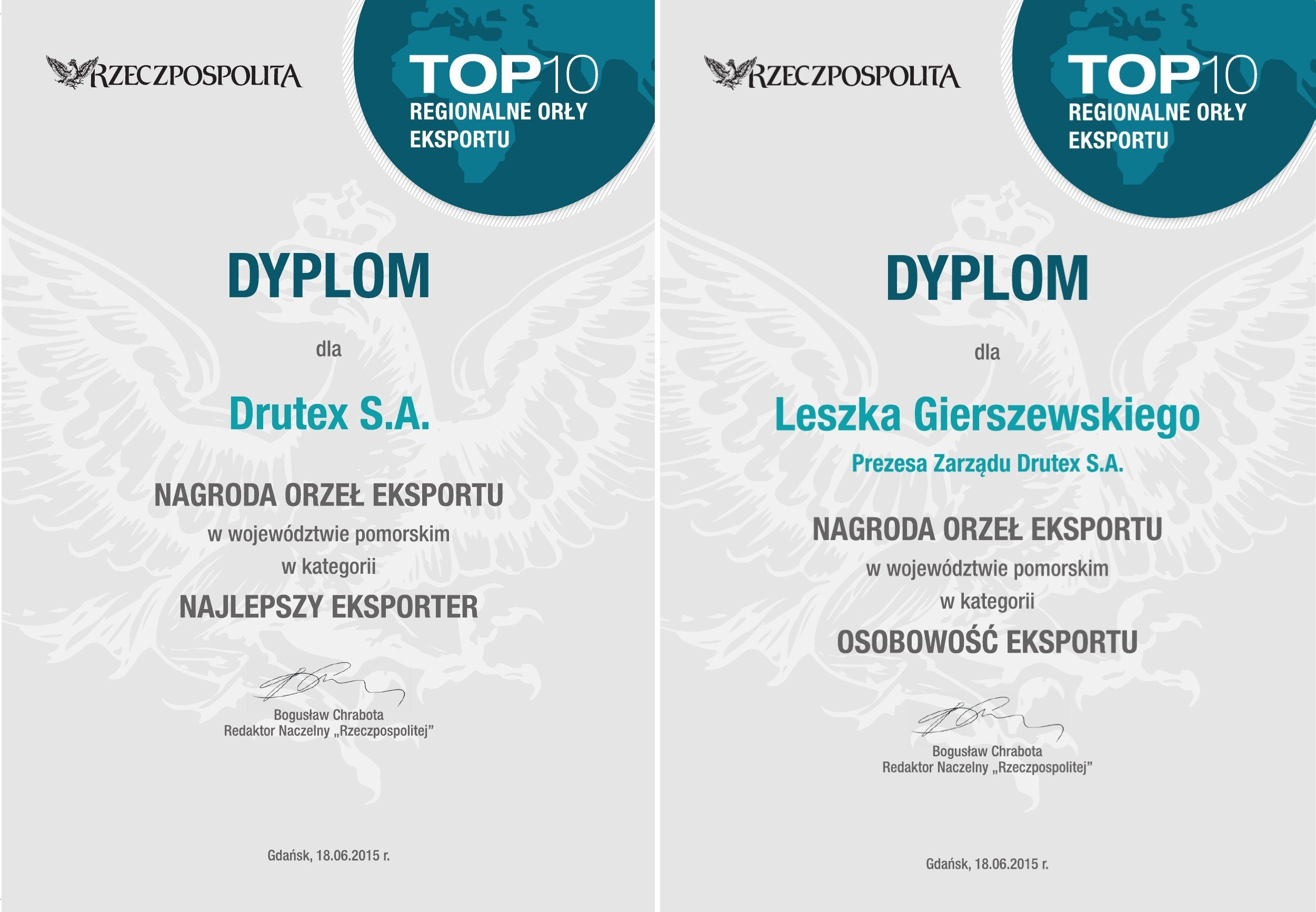 DRUTEX awarded in the Eagles of Export contest!