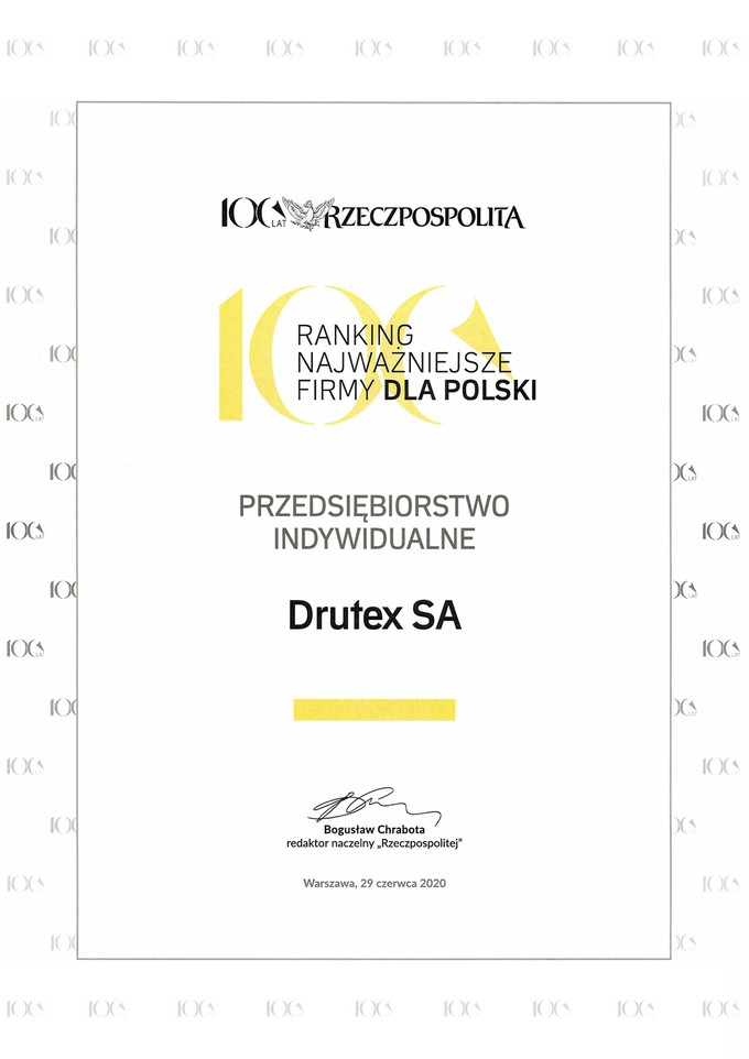 "Drutex among ""Most important companies for Poland"""