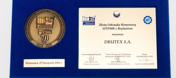 DRUTEX receives the SITPMB Honorary Gold Badge